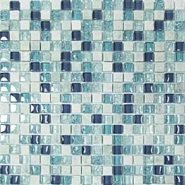 Mosaiikkilaatta Pukkila Lasi-luonnonkivimosaiikki Exclusive Ice Blue himmeä struktuuri 15x15 mm