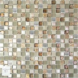 Mosaiikkilaatta Pukkila Lasi-luonnonkivimosaiikki Margo Ruskea himmeä struktuuri 15x15 mm
