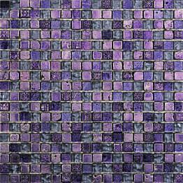Mosaiikkilaatta Pukkila Lasi-luonnonkivimosaiikki Nayade Violetti himmeä struktuuri 15x15 mm