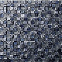 Mosaiikkilaatta Pukkila Lasi-luonnonkivimosaiikki Poseidon Sininen himmeä struktuuri 15x15 mm