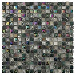 Mosaiikkilaatta Pukkila Lasi-luonnonkivimosaiikki Topkapi Harmaa himmeä struktuuri 15x15 mm