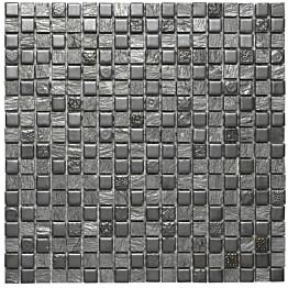 Mosaiikkilaatta Pukkila Lasi-luonnonkivimosaiikki Zoe Harmaa himmeä struktuuri 15x15 mm