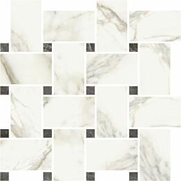 Mosaiikkilaatta Pukkila Marble Boutique Calacatta White Chesterfield kiiltävä sileä 317x305 mm