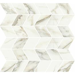 Mosaiikkilaatta Pukkila Marble Boutique Calacatta White Chevron kiiltävä sileä 298x298 mm