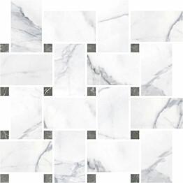 Mosaiikkilaatta Pukkila Marble Boutique Statuario White Chesterfield kiiltävä sileä 317x305 mm