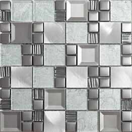 Mosaiikkilaatta Pukkila Metallimosaiikki Mix Kaos Frozen kiiltävä sileä 50x50 mm