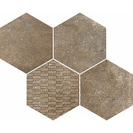 Mosaiikkilaatta Pukkila Reden Biscuit Esagone Mix himmeä sileä 370x300 mm