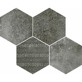 Mosaiikkilaatta Pukkila Reden Dark Grey Esagone Mix himmeä sileä 370x300 mm