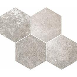 Mosaiikkilaatta Pukkila Reden Grey Esagone Mix himmeä sileä 370x300 mm