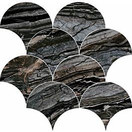 Mosaiikkilaatta Pukkila Rock Symphony Glam Musta kiiltävä sileä 290x280 mm
