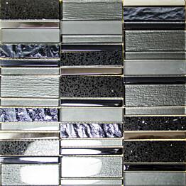 Mosaiikkilaatta Pukkila Stick Black himmeä sileä 307x300 mm