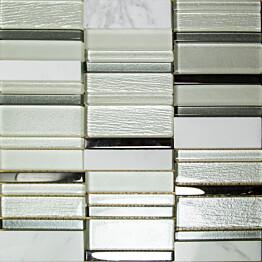 Mosaiikkilaatta Pukkila Stick White himmeä sileä 307x300 mm