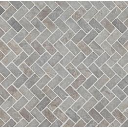 Mosaiikkilaatta Qualitystone Herringbone Light Grey 30x60 mm