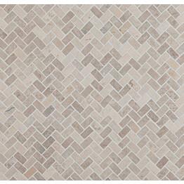 Mosaiikkilaatta Qualitystone Herringbone White Mini 20x40 mm