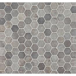 Mosaiikkilaatta Qualitystone Hexagon Light Grey 60x60 mm
