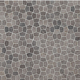 Mosaiikkilaatta Qualitystone Pentagon Mini Light Grey 30x50 mm