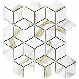 Mosaiikkilaatta Pukkila Calacatta diamant himmea karhea 48x41mm