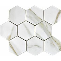Mosaiikkilaatta Pukkila Calacatta Hexagon himmea karhea 95x110mm