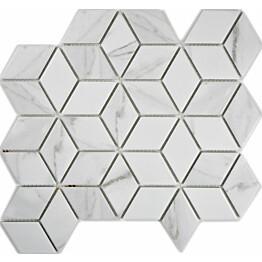 Mosaiikkilaatta Pukkila Carrara diamant himmea karhea 48x41mm