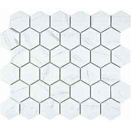Mosaiikkilaatta Pukkila Carrara Hexagon himmea karhea 51x59mm