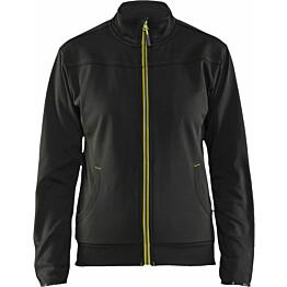 Naisten pusero Blåkläder 3394, vetoketjulla, musta/huomio keltainen