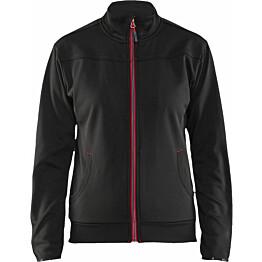 Naisten pusero Blåkläder 3394, vetoketjulla, musta/punainen