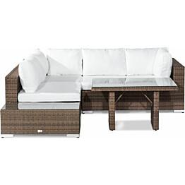Oleskeluryhmä Bahamas 4-istuttava sohva päätypöytä korkea sohvapöytä hiekka-valkoinen