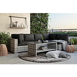 Oleskeluryhmä Bahamas 5-istuttava sohva sohvapöytä hyllyllä tummanharmaa-musta