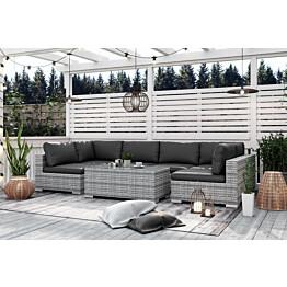 Oleskeluryhmä Bahamas 6-istuttava sohva sohvapöytä harmaa