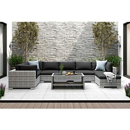 Oleskeluryhmä Bahamas 7-istuttava sohva sohvapöytä hyllyllä harmaa-musta
