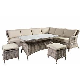 Oleskeluryhmä Home4you Eden sohva + pöytä + 2 jakkaraa hiekka/beige