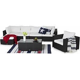 Oleskeluryhmä Bahamas 4-istuttava sohva + nojatuoli + divaani + sohvapöytä musta/valkoinen