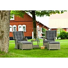 Oleskeluryhmä Hampton 2 nojatuolia + 2 rahia + pöytä + pehmusteet ruskea/harmaa