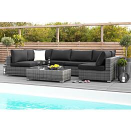 Oleskeluryhmä Bahamas 6-istuttava sohva + sohvapöytä harmaa