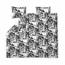 Parivuoteen pussilakanasetti Finlayson Seikkailumuumi 240x210 cm musta/valkoinen