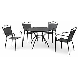 Parvekeryhmä Glasgow, Ø100cm pöytä, 4 tuolia, musta