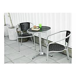 Parvekesetti York, Ø60cm pöytä, 2 tuolia, metalli/musta
