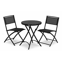 Parvekesetti Stirling, Ø60cm pöytä, 2 tuolia, musta