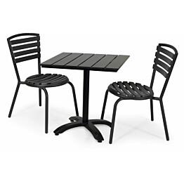 Parvekesetti Plymouth, 70x70cm, 2 pinottavaa tuolia, musta