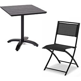 Parvekesetti Plymouth, 70x70cm, 2 tuolia, musta