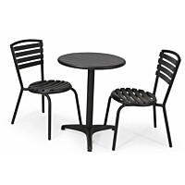 Parvekesetti Plymouth, Ø58cm pöytä, 2 tuolia, musta