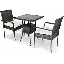 Parvekesetti Lyfco, 60x60cm, 2 tuolia tyynyillä, polyrottinki, harmaa