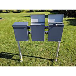 Postilaatikkoteline PP-Tuote Pate 3-laatikkoa jatko-osa
