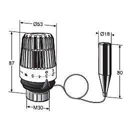 Patteriventtiilin termostaatti TA TRV 300 erillinen tuntoelin putki 2 m