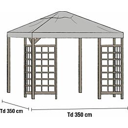 Paviljongin katto Hov 3.5x3.5m harmaa