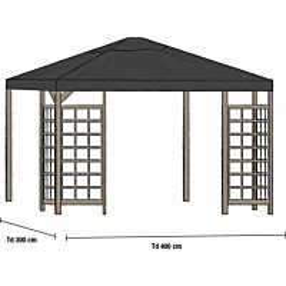 Paviljongin katto Hov 3.5x3.5m musta