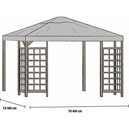 Paviljongin katto Hov 3x4m harmaa