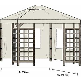 Paviljongin sivuverhot Hov 3.5x3.5m 2kpl beige