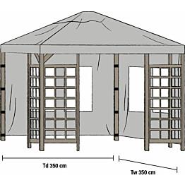 Paviljongin sivuverhot Hov 3.5x3.5m 2kpl harmaa