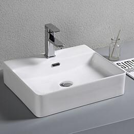 Pesuallas Lyfco, 500x420x145mm, ylivuotosuojalla, valkoinen